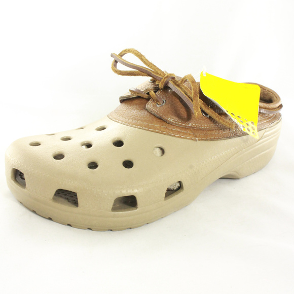 081791a52a3ccd NWT CROCS Islander Brown Leather Boat Shoes